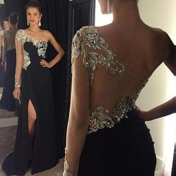 Long Sexy Black Sheath One Shoulder Sleeveless Backless Crystal Detailing Prom Dresses 2019 Open Back Chiffon