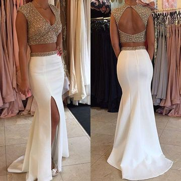 Long Sexy White Mermaid V-Neck Sleeveless Backless Beading Prom Dresses 2019 Sheath Open Back Two Piece