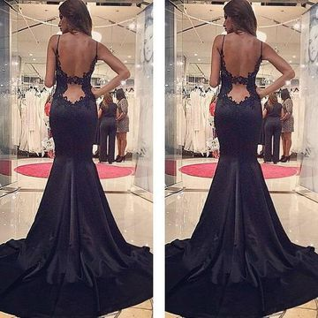 Long Sexy Black Mermaid Spaghetti Straps Sleeveless Backless Prom Dresses 2019 Open Back Lace