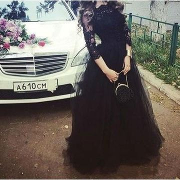Long Black Ball Gown 3/4 Length Sleeves Appliques Prom Dresses 2019 Lace
