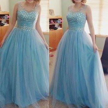 Long Cute Blue Sleeveless Zipper Beading Prom Dresses 2019