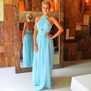 Long Sexy Blue Halter Zipper Ruched Prom Dresses 2020 A-line Strapless Chiffon