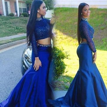 Elegant Blue Mermaid High Neck Long Sleeves Open Back Beading Prom Dresses 2019 Sexy Two Piece