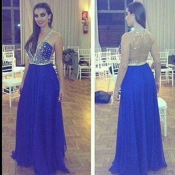 Long Sexy Blue A-line Halter Sleeveless Crystal Detailing Prom Dresses 2020 Chiffon