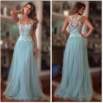 Long Blue A-line Sleeveless Lace Prom Dresses 2019