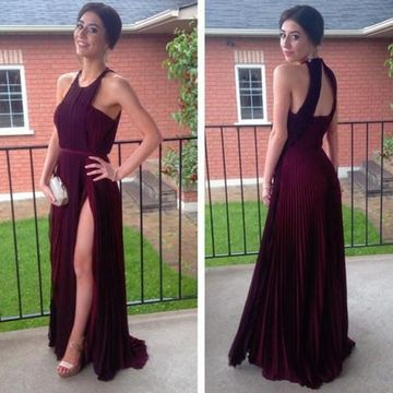 0604df3874fb 49%OFF Long Simple Red A-line Sleeveless Backless Prom Dresses 2019 ...