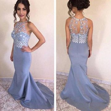 Long Sexy Mermaid Sleeveless Zipper Crystal Detailing Prom Dresses 2019