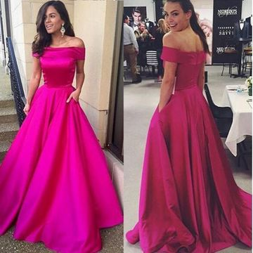 1593eb666f4 49%OFF Hot Pink Simple Long A-line Off-the-Shoulder Zipper Prom ...