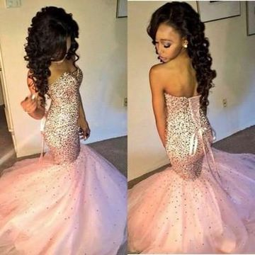 Long Trumpet/Mermaid Sweetheart Sleeveless Lace Up Sequins Prom Dresses 2019