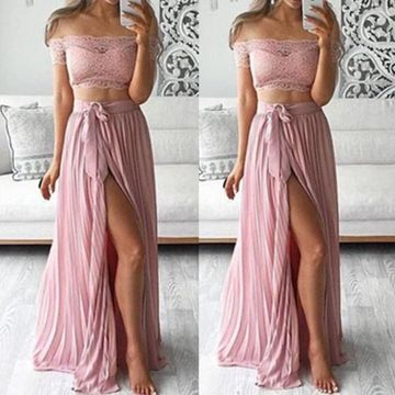 Long A-line Pleats Prom Dresses 2019 Chiffon Two Piece