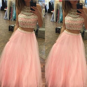 Long Elegant Pink A-line Halter Sleeveless Beading Prom Dresses 2019 Two Piece