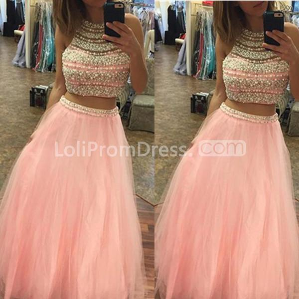 49 Off Long Elegant Pink A Line Halter Sleeveless Beading Prom Dresses 2019 Two Piece