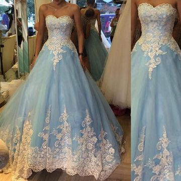 Long Blue Ball Gown Sweetheart Sleeveless Appliques Prom Dresses 2019