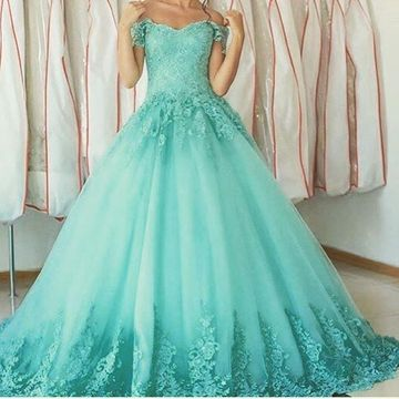 Long Green Ball Gown Appliques Prom Dresses 2020