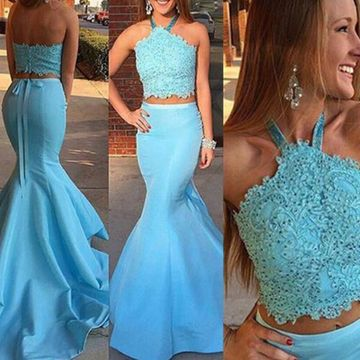 Long Blue Mermaid Halter Sleeveless Backless Appliques Prom Dresses 2019 Open Back Two Piece