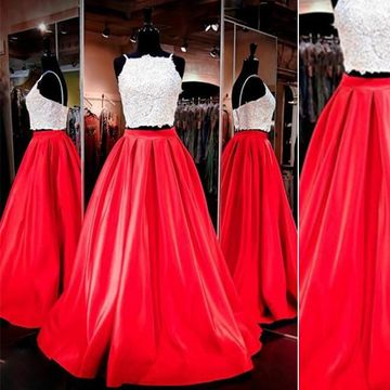 Long Red A-line Spaghetti Straps Sleeveless Zipper Appliques Prom Dresses 2019 Two Piece