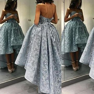 Ball Gown Sweetheart Sleeveless Zipper Appliques Prom Dresses 2019 Lace