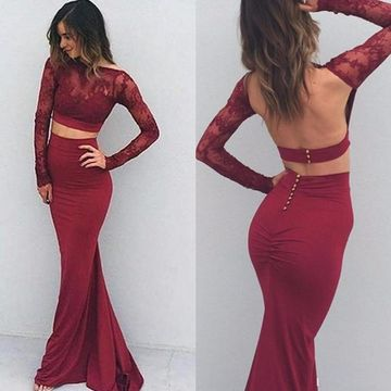 Sexy Red Mermaid Long Sleeves Backless Prom Dresses 2019 Open Back Lace Two Piece
