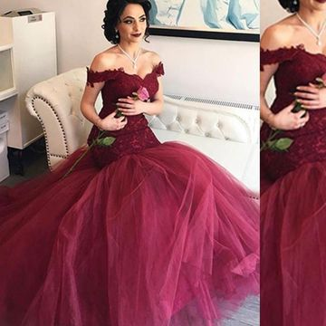 4052543932f 49%OFF Long Burgundy Off the Shoulder Appliques Prom Dresses 2019 Mermaid  Lace – lolipromdress.com