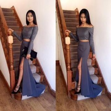 Grey Sheath Long Sleeves Split Front Prom Dresses 2019 Two Piece