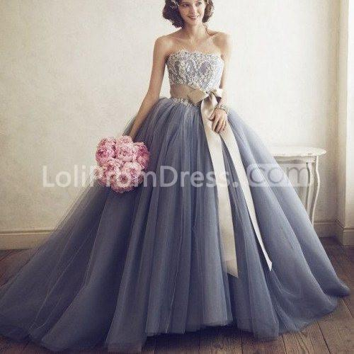 Jieruize White Simple Backless Wedding Dresses 2019 Ball: 49%OFF Long Blue Ball Gown Strapless Sleeveless Appliques