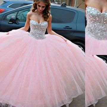 Long Ball Gown Sweetheart Sleeveless Beading Prom Dresses 2020