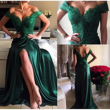 Long Green A-line Sleeveless Zipper Beading Prom Dresses 2019 Lace