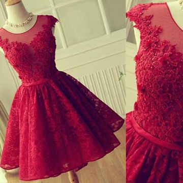 Red A-line Sleeveless Backless Appliques Prom Dresses 2019 Open Back Lace For Short Girls
