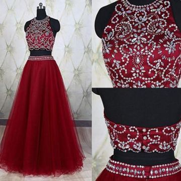 Long Red A-line Halter Sleeveless Crystal Detailing Prom Dresses 2019 Two Piece