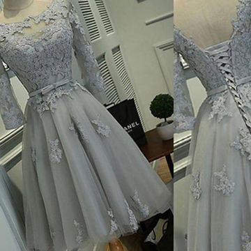 Elegant Grey A-line 3/4 Length Sleeves Corset Appliques Homecoming Prom Dresses 2019 Vintage For Short Girls