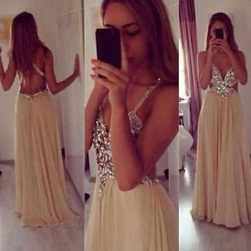 Long Sexy A-line Straps Sleeveless Backless Crystal Detailing Prom Dresses 2019 Open Back Chiffon