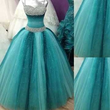 Long Ball Gown Spaghetti Straps Sleeveless Crystal Detailing Prom Dresses 2019