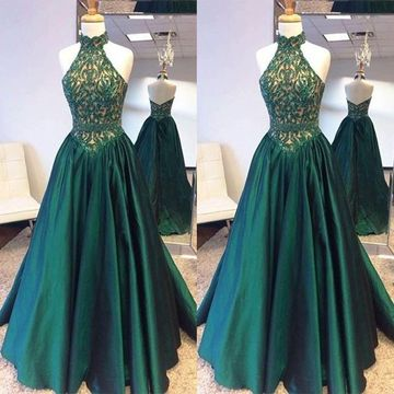 Long Green Ball Gown Halter Sleeveless Zipper Beading Prom Dresses 2019