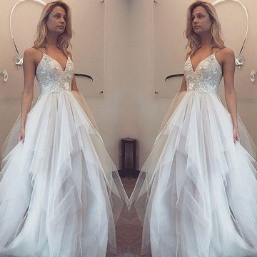 Long White A-line Spaghetti Straps Tiers Prom Dresses 2019