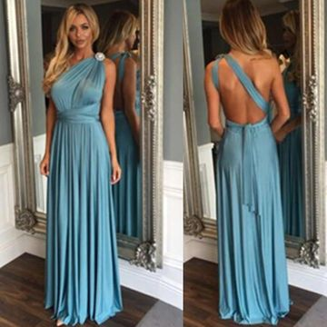 Long Sexy Blue A-line One Shoulder Sleeveless Backless Prom Dresses 2020 Open Back