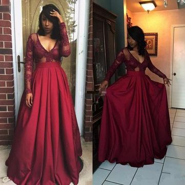 African Burgundy A-line V-Neck Long Sleeves Illusion Prom Dresses 2019 Lace Sexy