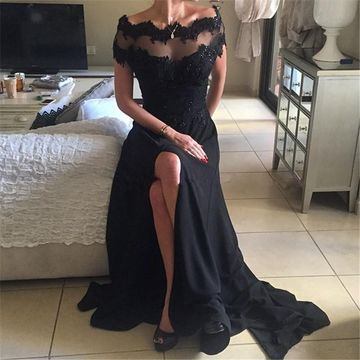 Long Floral Black A-line Short Sleeves Zipper Beading Prom Dresses 2019 Sexy