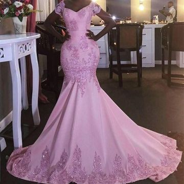 Long African Mermaid Short Sleeves Appliques Prom Dresses 2019