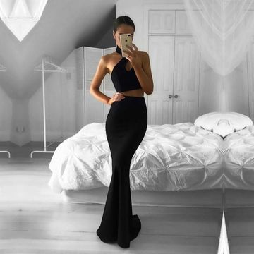 Long Sexy Black Mermaid Halter Sleeveless Prom Dresses 2019 Two Piece