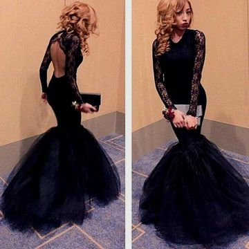 Sexy Black Mermaid V-Neck Long Sleeves Backless Prom Dresses 2019 Open Back Lace