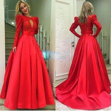 Red A-line Round Neck Long Sleeves Zipper Lace Prom Dresses 2019