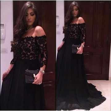 Long Sexy Black A-line 3/4 Length Sleeves Prom Dresses 2019 Chiffon Lace