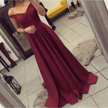 Long Red A-line Off-the-Shoulder Sleeveless Zipper Prom Dresses 2019