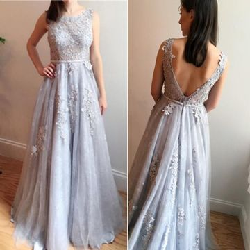 Long A-line Round Neck Sleeveless Backless Appliques Prom Dresses 2019 Open Back