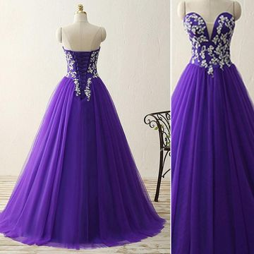 Long Purple Ball Gown Sweetheart Sleeveless Corset Appliques Prom Dresses 2019