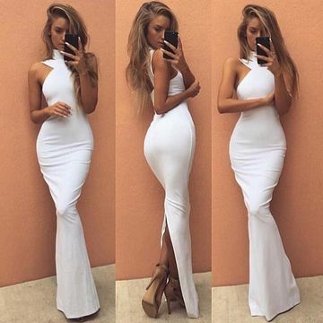 Long Sexy White Mermaid High Neck Sleeveless Zipper Prom Dresses 2019