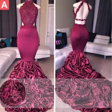 Long Sexy Burgundy Mermaid High Neck Sleeveless Backless Beading Prom Dresses 2019 Open Back
