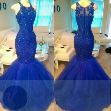 Long Sexy Blue Mermaid Sleeveless Zipper Appliques Prom Dresses 2019