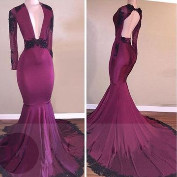 Sexy Mermaid V-Neck Long Sleeves Backless Appliques Prom Dresses 2019 Open Back