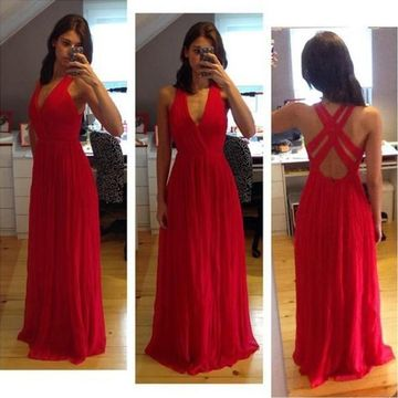 Long Red A-line Straps Sleeveless Backless Pleats Prom Dresses 2019 Open Back Chiffon